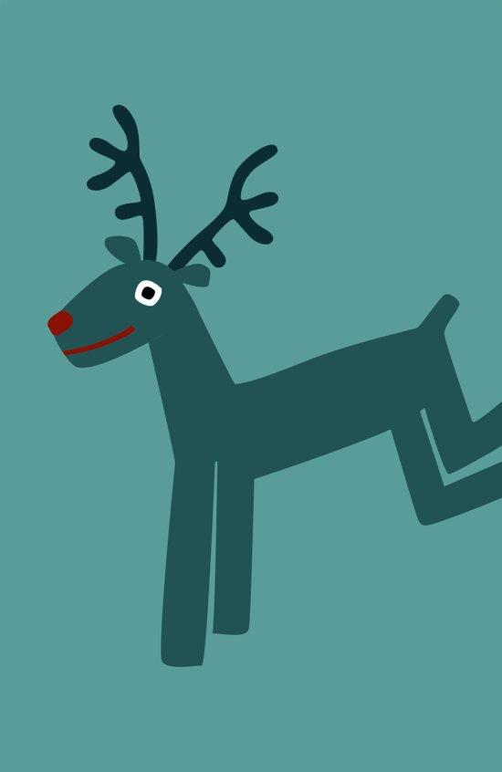 Reindeer-Teal Canvas Print