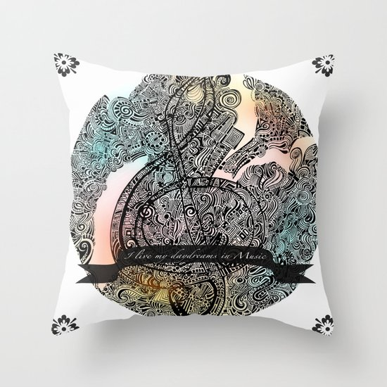 """I live my Daydreams in Music"" Throw Pillow"