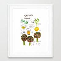 illustrated recipes: carciofi alla romana Framed Art Print