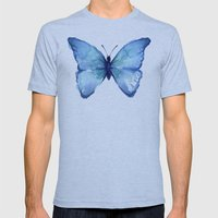 Blue Butterfly Watercolor Mens Fitted Tee Athletic Blue SMALL