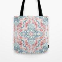 Vintage Fancy - a Pattern in Pale Blue, Navy & Deep Rose Tote Bag