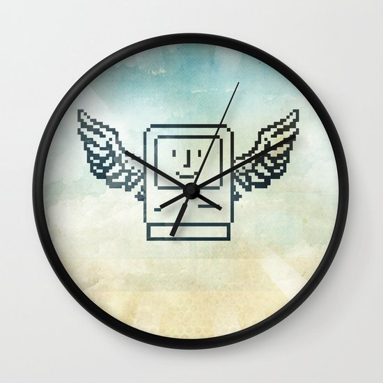 pixel mac with wings Wall Clock