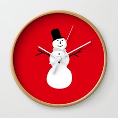 Christmas Snowman-Red Wall Clock