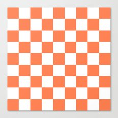 Checker (Coral/White) Canvas Print