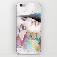 Lady With A Butterfly iPhone & iPod Skin