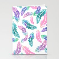 Pastel pink turquoise hand painted watercolor feathers pattern Stationery Cards
