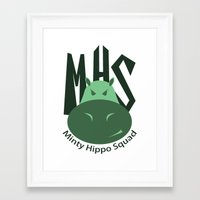 Minty Hippo Squad Framed Art Print