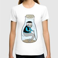 A Merman In Captivity Pa… Womens Fitted Tee White SMALL
