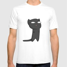 Black Cat White Mens Fitted Tee SMALL