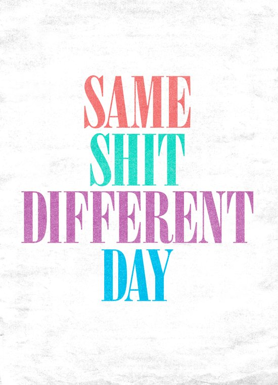 Same Shit Different Day. Art Print