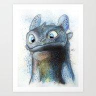 Art Print featuring Toothless by Luke Jonathon Fieldi…