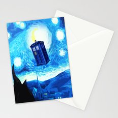Starry Night Blue Phone Box Stationery Cards