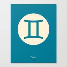 Gemini Symbol Blue Canvas Print