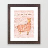 Llamas Are Friends In Pe… Framed Art Print
