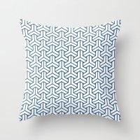 Bishamon In Monaco Blue Throw Pillow