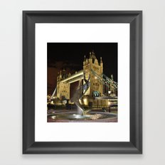 Tower Bridge with the Girl and a Dolphin Fountain, London. Framed Art Print