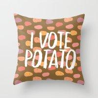 I Vote Potato Throw Pillow