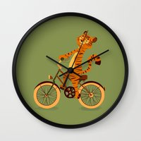 Tiger on the bike Wall Clock