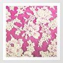 pink lace-photograph of vintage lace Art Print