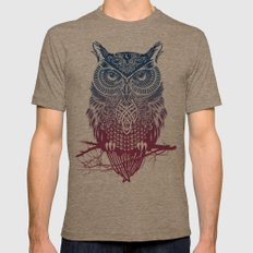 Evening Warrior Owl Mens Fitted Tee Tri-Coffee SMALL