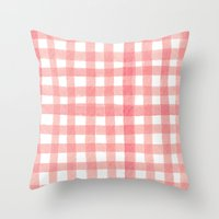 Gingham Watermelon Throw Pillow