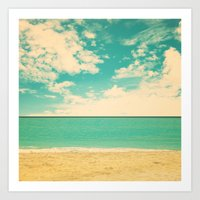 Retro Beach Art Print