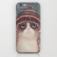 iPhone Cases featuring Christmas Cat by Lime