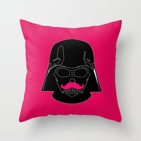 Dark Stache Throw Pillow