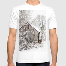 The Wooden Shed SMALL White Mens Fitted Tee