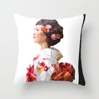 Polygonal Kimono Girl 2 Throw Pillow