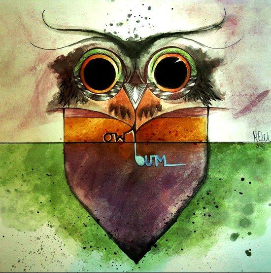 Owl-Bum (Color) Art Print