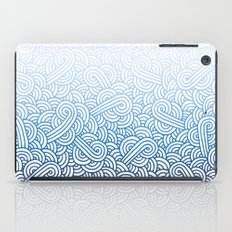 Gradient blue and white swirls doodles iPad Case