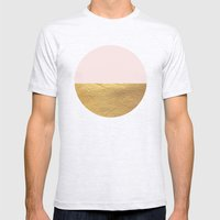 Color Blocked Gold & Rose Mens Fitted Tee Ash Grey SMALL