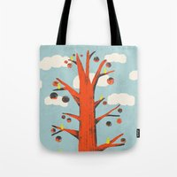 Red Tree, Yellow Birds Tote Bag
