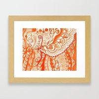 Orange Brushstroke Framed Art Print