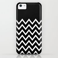 iPhone 5c Cases featuring White Chevron On Black by Pencil Me In ™