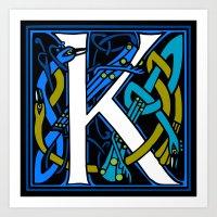 Celtic Peacock Letter K Art Print