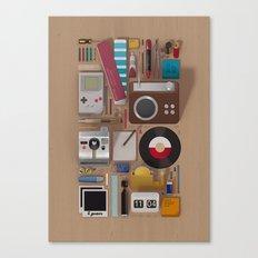 Stuff (wood background) Canvas Print