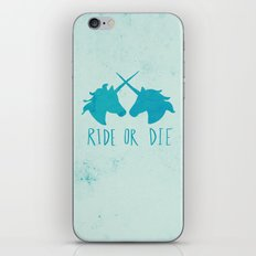 Ride or Die x Unicorns x Turquoise iPhone & iPod Skin