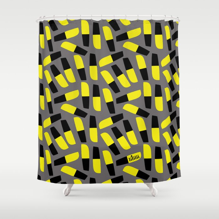 Yellow Black Grey Shower Curtain By Beach Please
