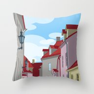 Tiled Roofs Throw Pillow