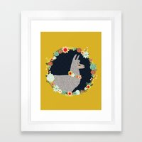 lovely llama Framed Art Print