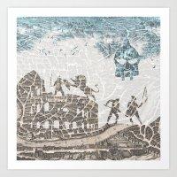 Rome of Gladiators - vintage map Art Print