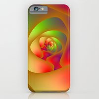 iPhone & iPod Case featuring Green and Red Spiral Labyrinth by Objowl
