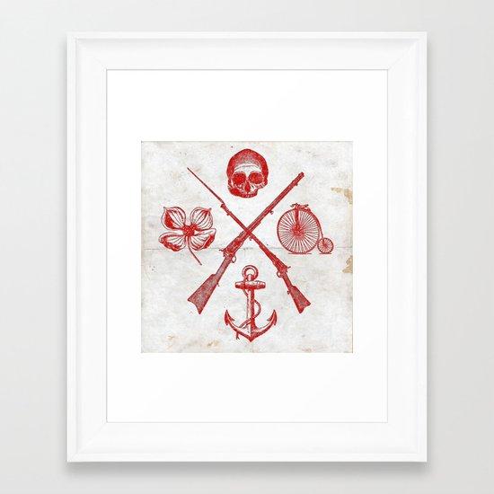 Skull Flower Rifle Bicycle Anchor – Badge Framed Art Print