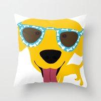 Labrador Dog - Sunglasse… Throw Pillow