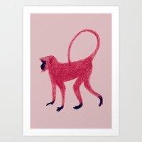 Red Monkey Art Print