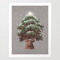 Reindeer Tree Art Print