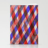 Red and Blue Diagonals Stationery Cards