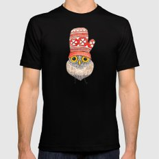 mitten owl Mens Fitted Tee SMALL Black